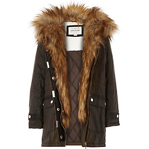 Girls khaki faux-fur trim parka coat