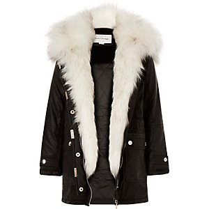 Girls black faux-fur trim parka coat