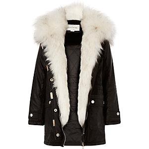 Girls black faux-fur trim parka coat