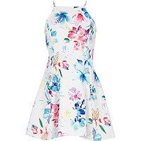 Girls white floral print dress