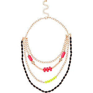 Girls gold tone beaded statement necklace