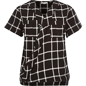 Girls black check wrap shirt