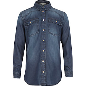 Girls dark blue denim shirt