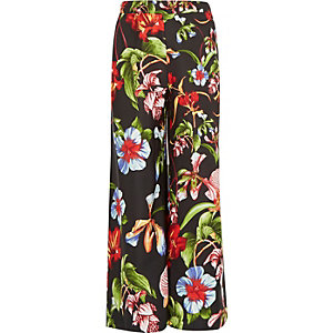 Girls black tropical printed palazzo trousers