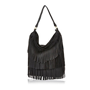 Girls black fringed hobo bag