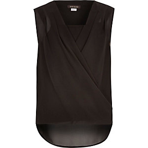 Girls black wrap zip side top