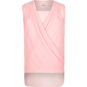 Girls pink split back layer top