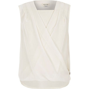 Girls cream wrap zip side top