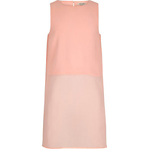 Girls pink longline sleeveless shirt
