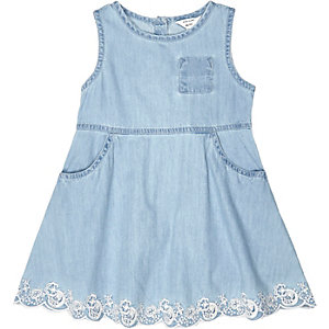 Mini girls blue detail hem dress