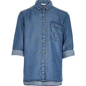 Girls blue Tencel denim shirt