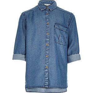 Girls blue Tencel denim shirt