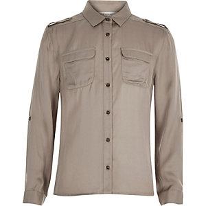 Girls grey satin shirt