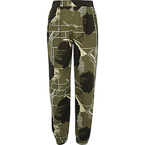 Girls khaki printed joggers