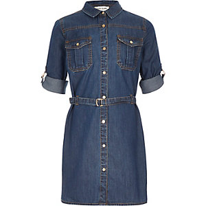 Girls mid wash denim shirt dress