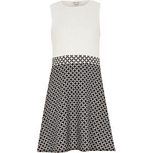 Girls white geo print A-line dress