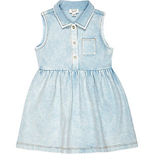 Mini girls denim-look sleeveless shirt dress