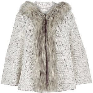 Girls grey faux fur trim cape