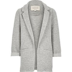 Girls grey ottoman ribbed blazer