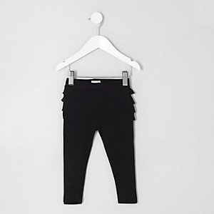 Mini girls black ruffle leggings