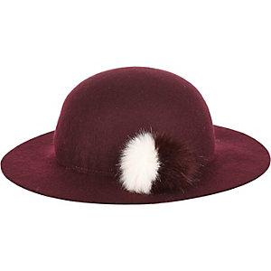 Mini girls dark red floppy felt hat