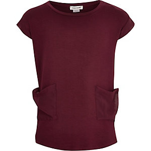 Girls berry cut and sew pocket t-shirt