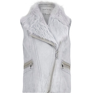 Girls grey faux-suede gilet
