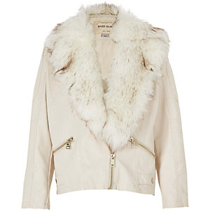 Girls cream faux-fur collar biker jacket
