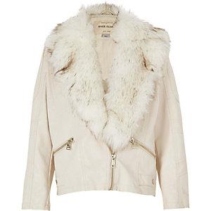 Girls cream faux-fur collar biker jacket