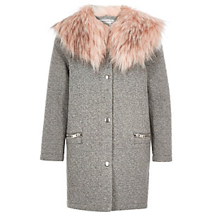 Girls grey fun faux-fur collar coat