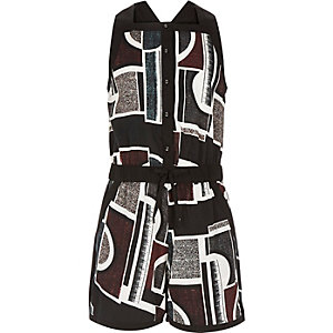 Girls red geometric print playsuit