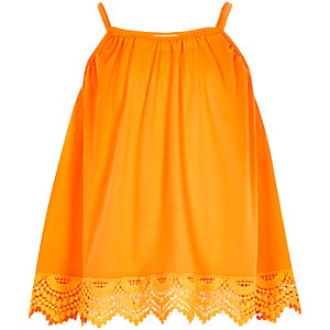 Girls orange crochet hem cami