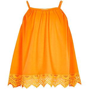 Girls orange crochet hem cami