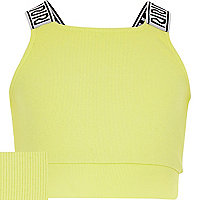 Girls lime green wordy strap crop top