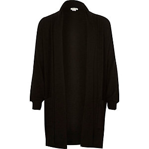 Girls black side split longline cardigan