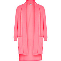Girls pink side split longline cardigan
