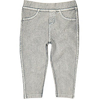 Mini girls light grey denim leggings