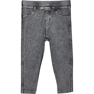Mini girls grey denim look leggings