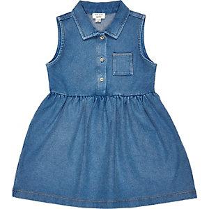 Mini girls denim-look sleeveless shirt dress
