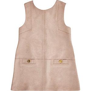 Mini girls pink faux suede shift dress