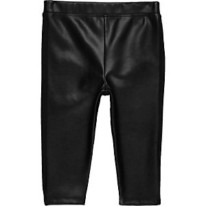 Mini girls black leather look leggings