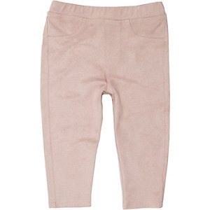 Mini girls pink faux suede leggings
