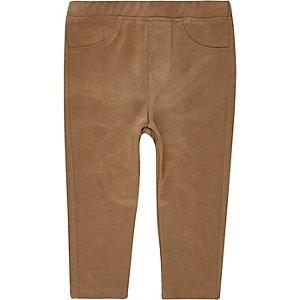 Mini girls brown faux suede leggings