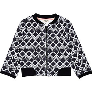 Mini girls black printed bomber jacket