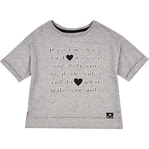 Mini girls grey dream big print t-shirt
