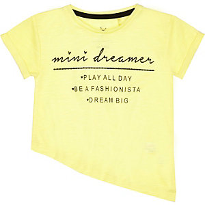 Mini girls yellow asymmetric dreamer t-shirt