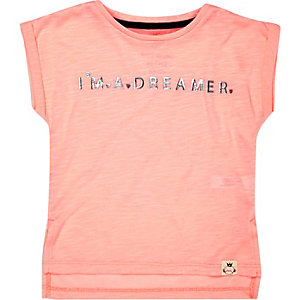 Mini girls pink dreamer print t-shirt