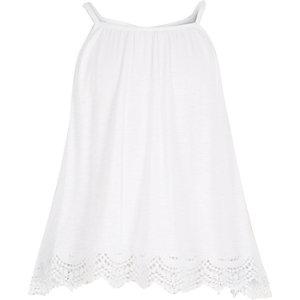 Girls white crochet hem cami