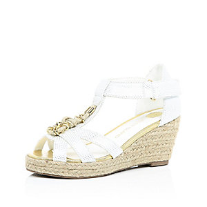 Girls white embellished wedges