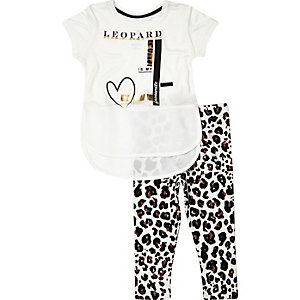 Mini girls leopard t-shirt leggings outfit